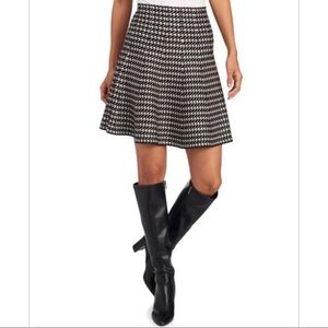 Max Studio Houndstooth Fit and Flare Sweater Skirt